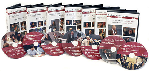 Bok Center DVD set on college teaching, arrayed with packaging